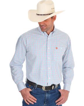 Wrangler Men's George Strait Checker Print Shirt - Tall, Orange, hi-res
