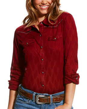 Ariat Women's Red Borrendo Long Sleeve Shirt , Red, hi-res
