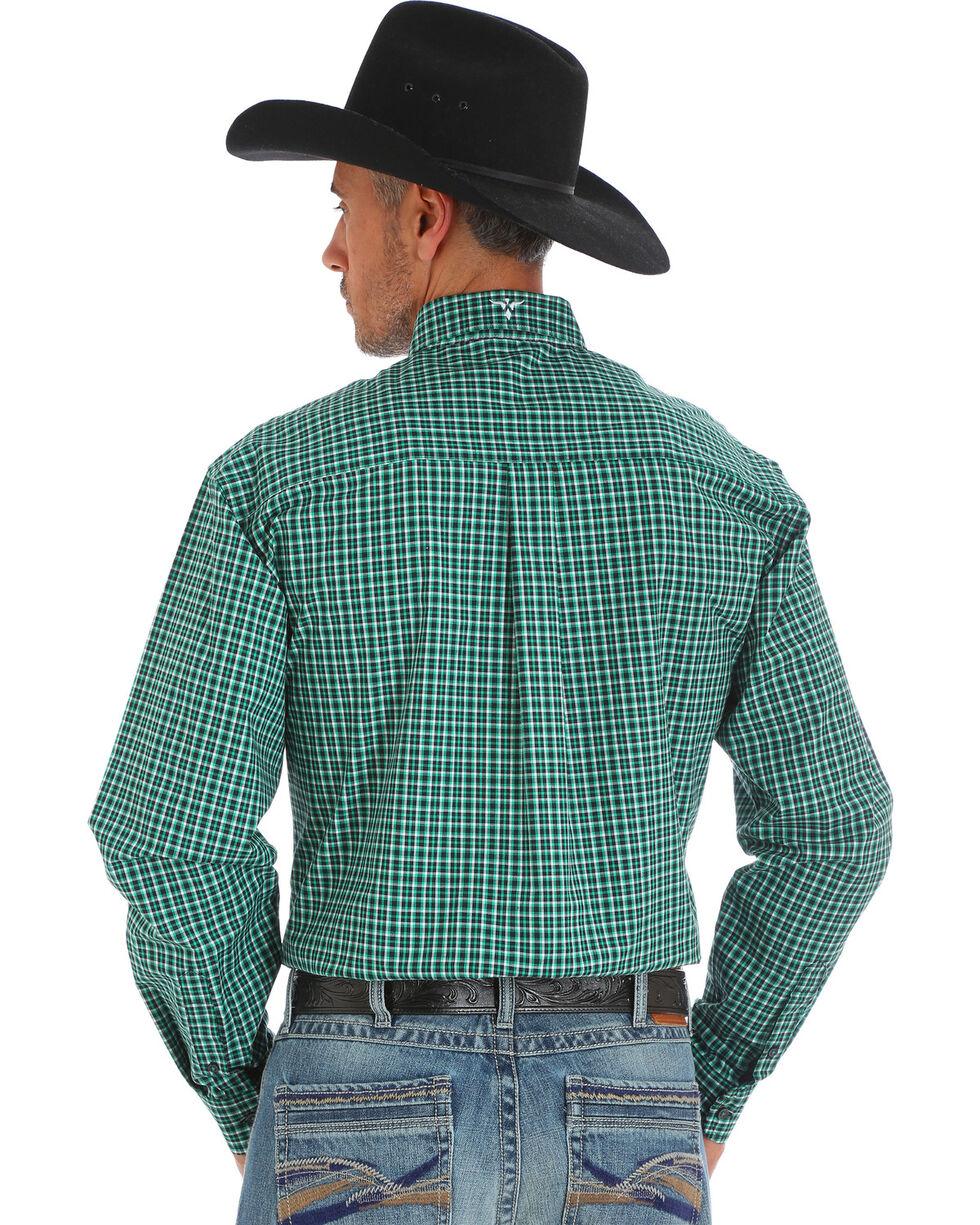 Wrangler 20X Men's Green/Black/White Advanced Comfort Competition Shirt, Green, hi-res