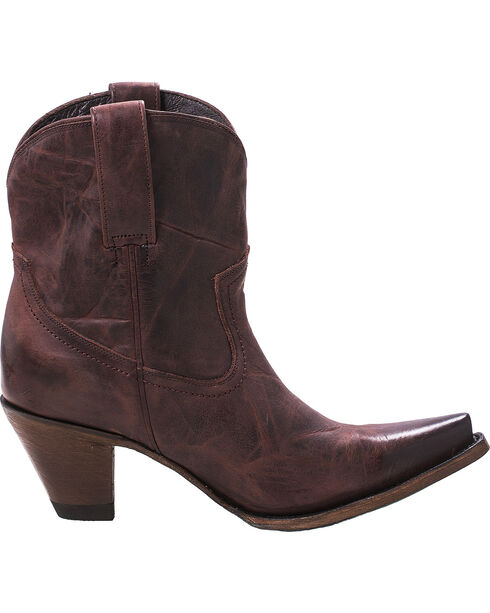 Lane Women's Julia Short Boots - Snip Toe , Wine, hi-res