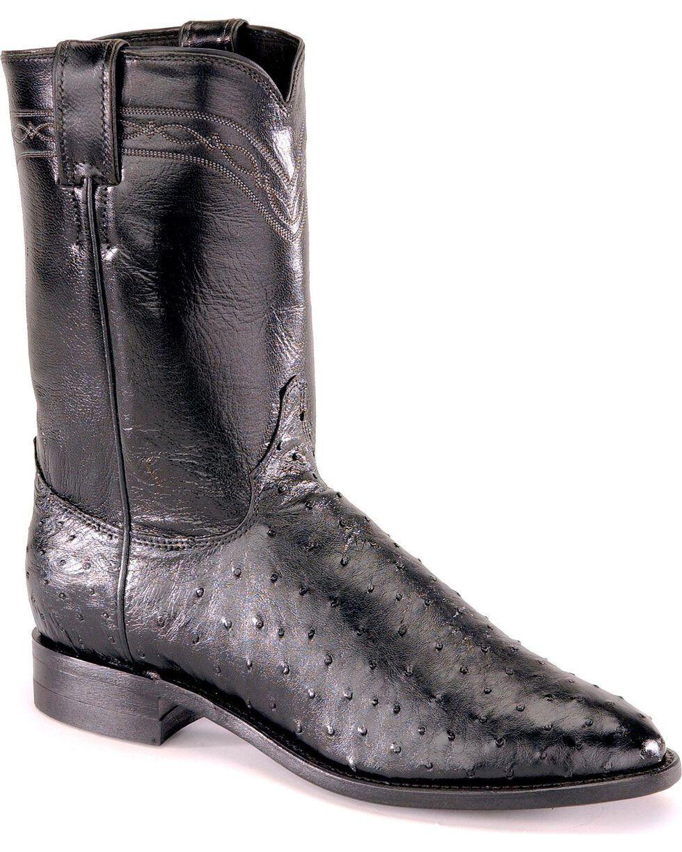 Justin Full Quill Ostrich Roper Boots - Medium Toe, Black, hi-res