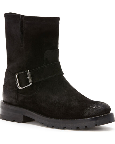 Frye Women's Black Natalie Lug Engineer Boots - Round Toe , Black, hi-res