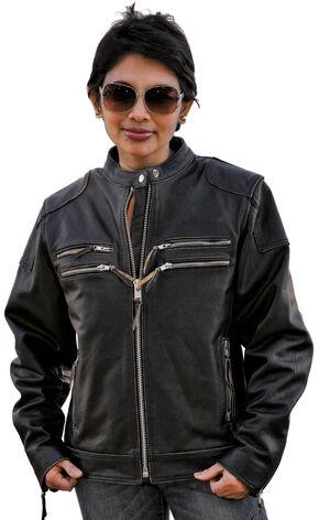 Interstate Leather Gangster Jacket - Reg, Black, hi-res