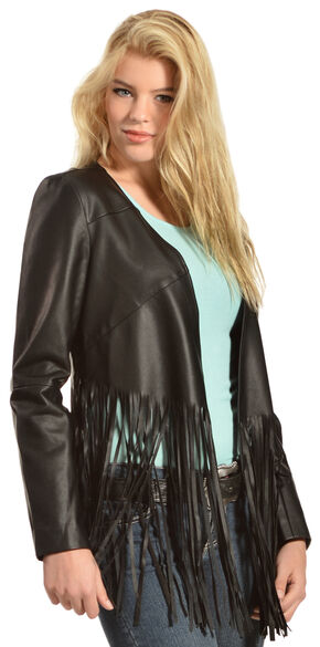 Cowgirl Justice Women's Hell on Wheels Black Fringe Jacket, Black, hi-res