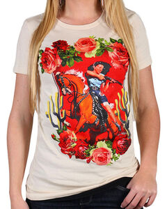 Rodeo Quincy Women's Mustang Sally T-Shirt, White, hi-res