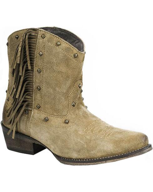Roper Women's Fringe Short Boots - Snip Toe, Tan, hi-res