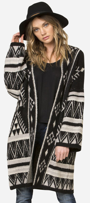 Miss Me Women's Tribal Patterned Oversized Cardigan, Black, hi-res