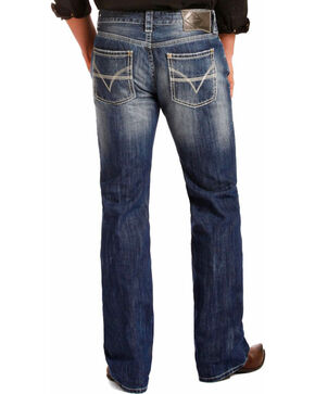 "Rock & Roll Denim Men's Blue Pistol ""V"" Running Stitch Jeans - Straight Leg , Blue, hi-res"
