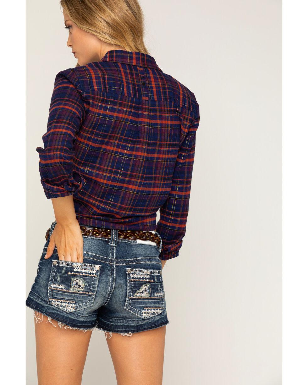 Shyanne Women's Lurex Cropped Plaid Flannel Shirt, Navy, hi-res