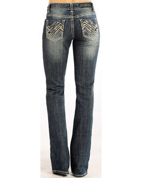 Rock & Roll Cowgirl Women's Indigo Zig Zag Jeans - Boot Cut , Indigo, hi-res