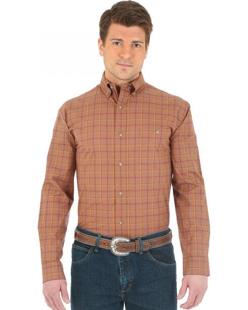 Wrangler Advanced Comfort Brown and Orange Plaid Western Shirt, Brown, hi-res