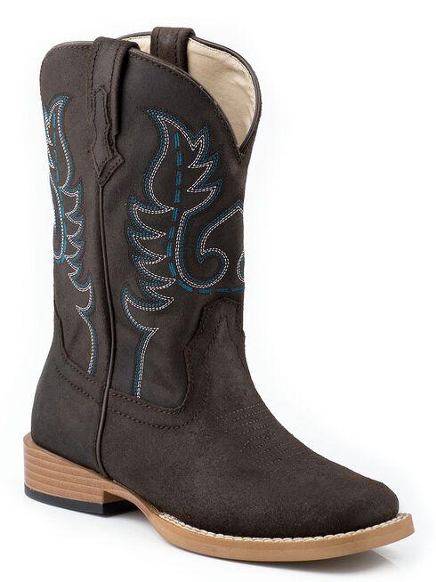 Roper Youth Boys' Basic Cowboy Boots - Square Toe, Dark Brown, hi-res