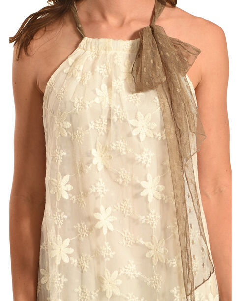 Young Essence Women's Tie Neck Lace Dress, Beige/khaki, hi-res