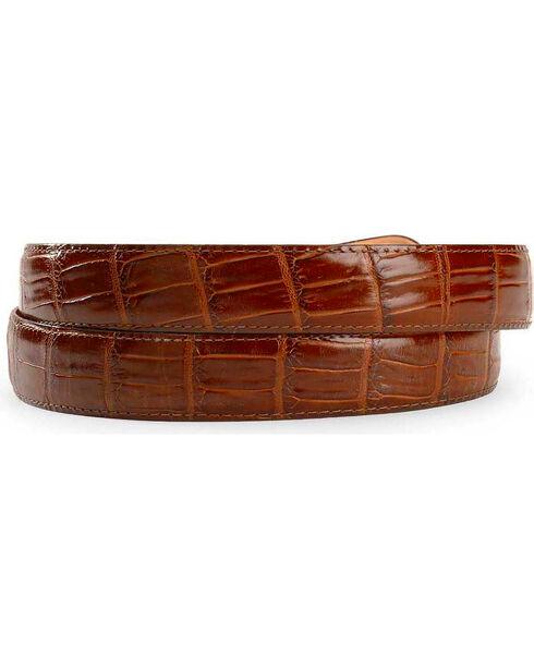 Crocodile Print Leather Belt, Brown, hi-res