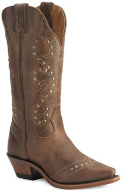 Boulet Studded & Distressed Leather Cowgirl Boots - Snip Toe, , hi-res