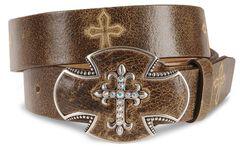 Justin Bent Rail Distressed Leather Belt, , hi-res