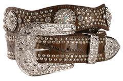 Nocona Rhinestone Embellished Croc Print Leather Belt, , hi-res