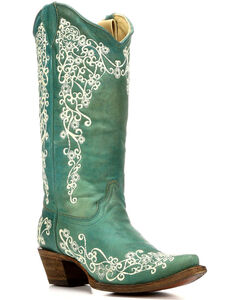Corral Women's Floral Embroidery Cowgirl Boots - Snip Toe , , hi-res