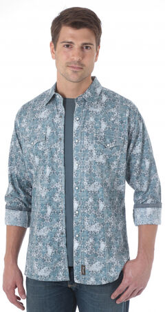 Wrangler Retro Men's Grey Blue Western Shirt , Grey, hi-res