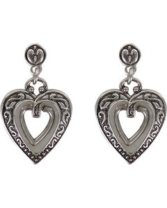 Shyanne Women's Engraved Heart Earrings, Silver, hi-res