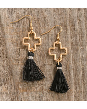 Shyanne Women's Tassel Cross Earrings, Gold, hi-res