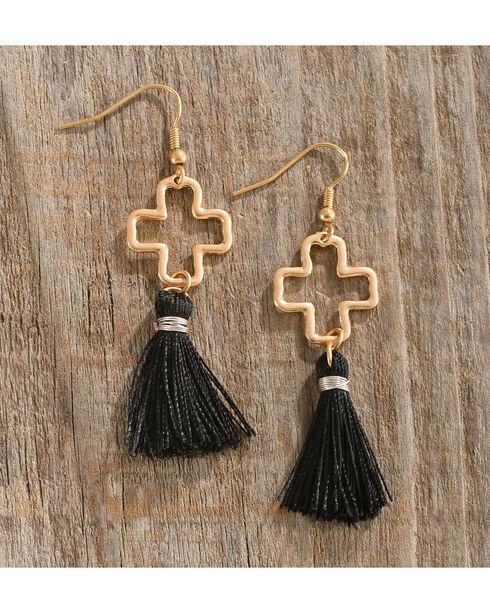 Shyanne Women's Tassel Cross Earrings, Gold, hi-res