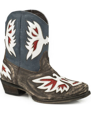 Roper Women's Pride Eagle Underlay Shorty Cowgirl Boots - Snip Toe, Brown, hi-res