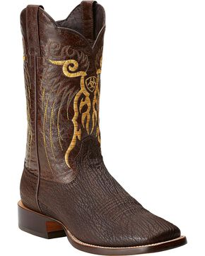 Ariat Shallow Water Sharkskin Cowboy Boots - Square Toe, Chocolate, hi-res