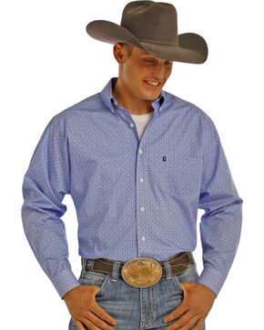 Tuf Cooper Men's Blue Print Performance Shirt , Blue, hi-res
