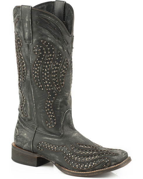 Roper Women's Black Stacie Western Boots - Square Toe , , hi-res