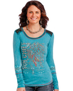Panhandle Women's Turquoise Sun Chief Long Sleeve T-Shirt , Multi, hi-res