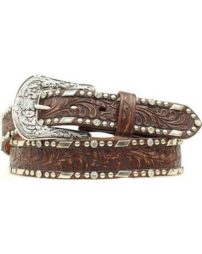 Ariat Embossed Overlay Nailheads Belt, Brown, hi-res