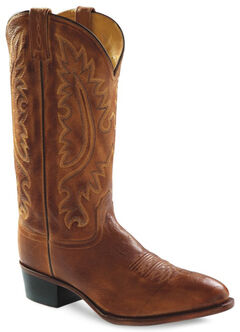Old West Men's Western Cowboy Boots - Round Toe, Tan, hi-res