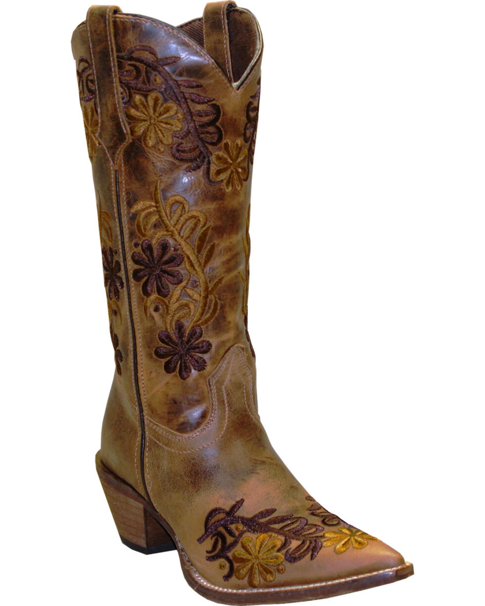 Rawhide by Abilene Boots Women's Brown Floral Cowgirl Boots - Pointed Toe, Brown, hi-res