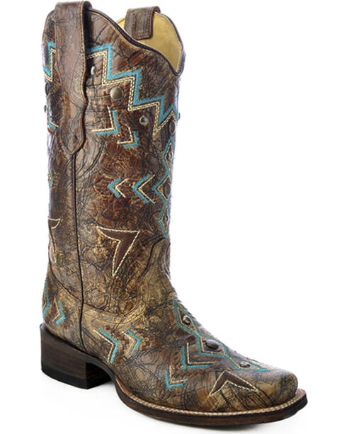 Corral Embroidered Southwest Cowgirl Boots - Square Toe, Bronze, hi-res