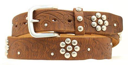 Nocona Floral Studded Belt, Brown, hi-res