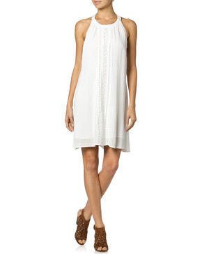 Miss Me Ruffle Halter Dress, Off White, hi-res