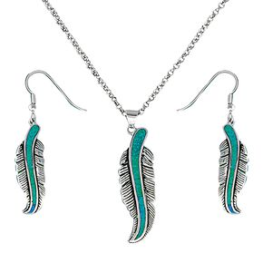 Montana Silversmiths Opal Feather Necklace & Earrings Set, Silver, hi-res