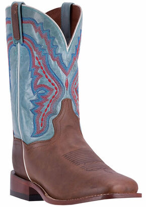 Dan Post Men's Brown/Turquoise Crockett Cowboy Boots - Broad Square Toe, Brown, hi-res