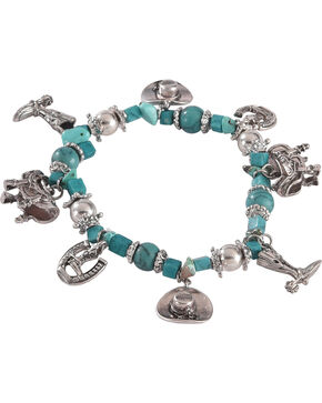 Shyanne Women's Western Charm Turquoise Stone Stretch Bracelet, Turquoise, hi-res