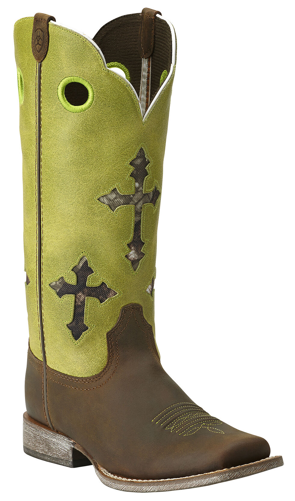 Ariat Girls' Ranchero Cross Cowgirl Boots - Square Toe, Brown, hi-res