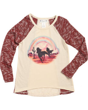 Shyanne Girls' Desert Horses Long Sleeve Shirt, Ivory, hi-res