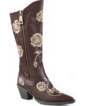 Roper Brown Floral Embroidered Tall Zipper Boots - Pointed Toe , Brown, hi-res
