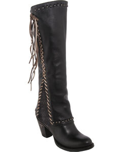 Lane Women's Hoodie Tall Western Boots - Round Toe , Black, hi-res