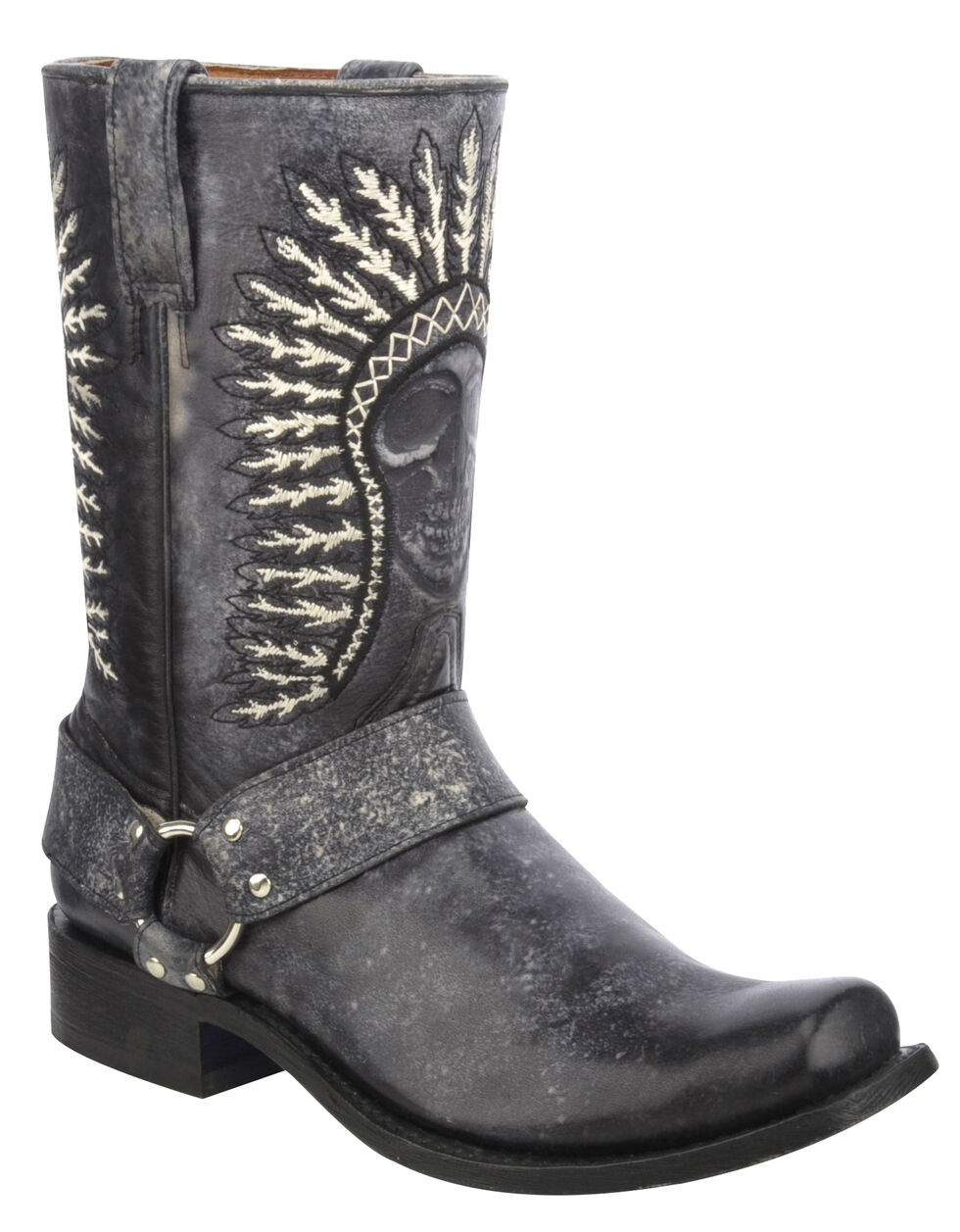 Corral Shaded Skull Harness Cowboy Boots - Square Toe, Black, hi-res