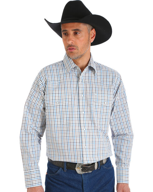 Wrangler Men's Wrinkle Resistant White Plaid Western Snap Shirt, White, hi-res