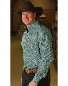 Cinch Men's Classic Fit Printed Plain Weave Long Sleeve Button Down Shirt, Teal, hi-res