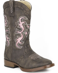 Roper Girls' Brown Lexi Western Boots - Square Toe , Brown, hi-res