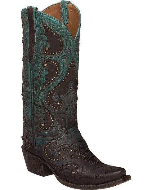 Lucchese Aqua Ombre Gemma Cowgirl Boots - Snip Toe , Aqua, hi-res