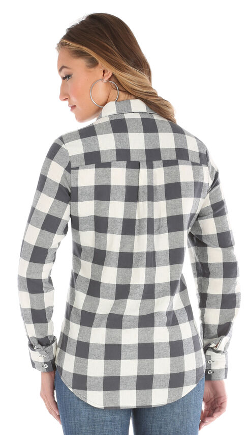 Wrangler Women's Cream As Real As Gingham Long Sleeve Flannel Shirt , Cream, hi-res